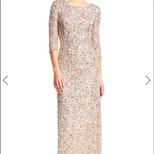 Adrianna Papell beaded gown in champagne